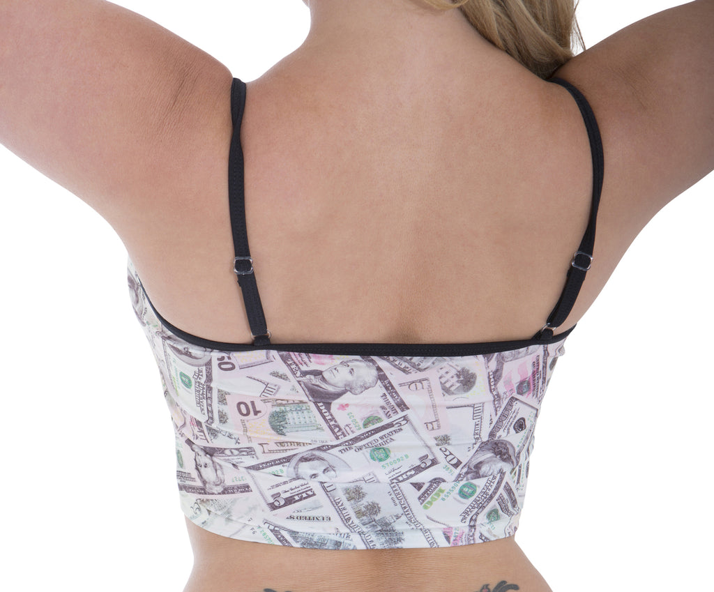 Sassy Assy New Money Print Cami Crop Top Clubwear Tops