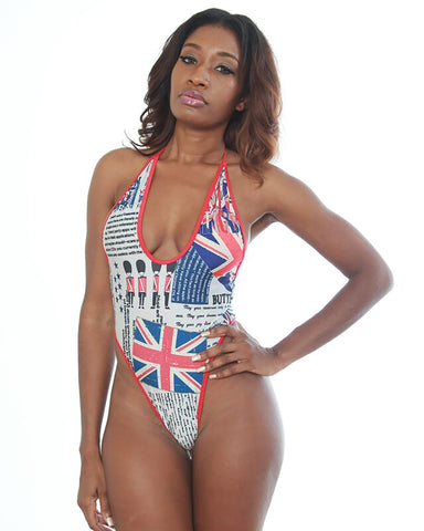 New High Cut Form Fitting UK Print Bodysuit