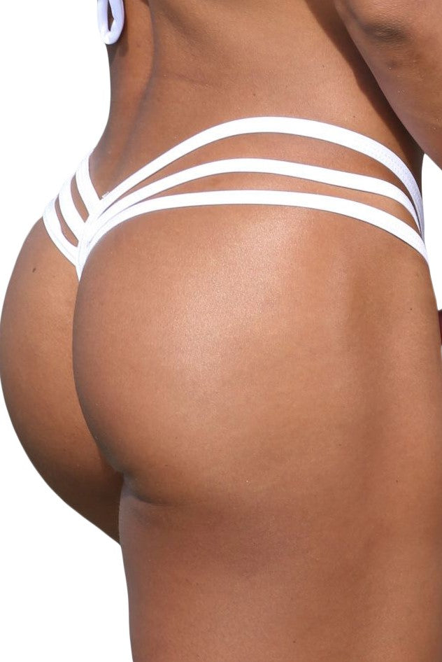 White Low Rise Triple Band V Thong-Stripper Clothes