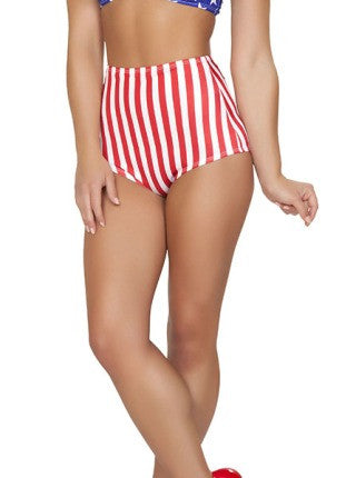High Waisted Red-White Stripes American Shorts