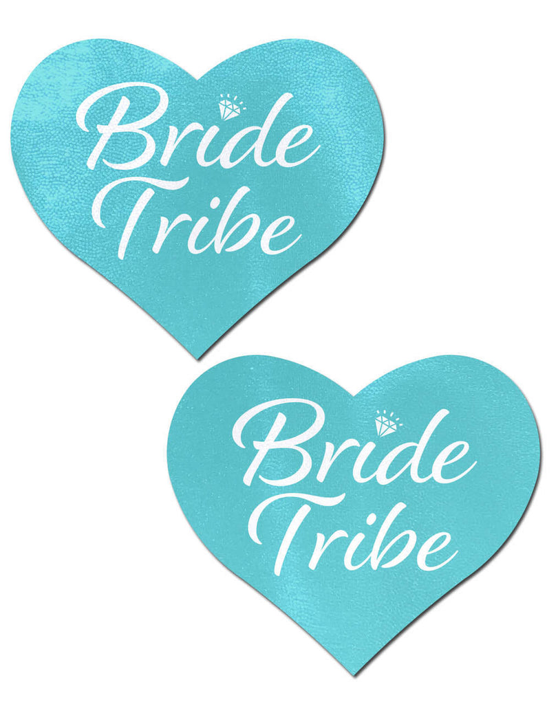 Tiffany Blue 'Bride' Heart Nipple Pasties