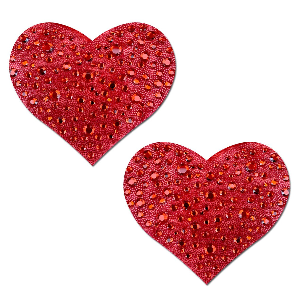 Crystal Red Sparkling Heart Nipple Pasties