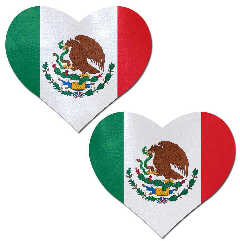 Mexican Flag on Heart Nipple Pasties