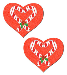 Red Hearts With Candy Cane Nipple Pastease