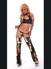 Camo Print 4 Piece Pole Dancer Chap Set