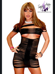 Dare To Bare Laser Cut Mini Dress Sexy Clubwear