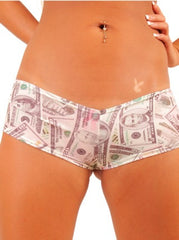 Pole Dancers Full  Booty Short With Money Print