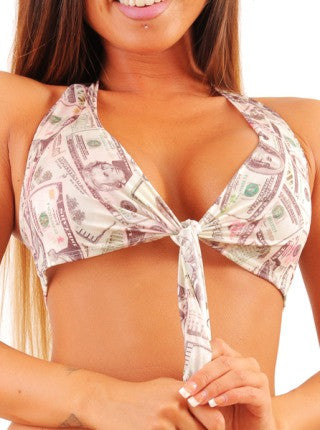 Marilyn Monroe Halter Top Money Print Stripper Clothing