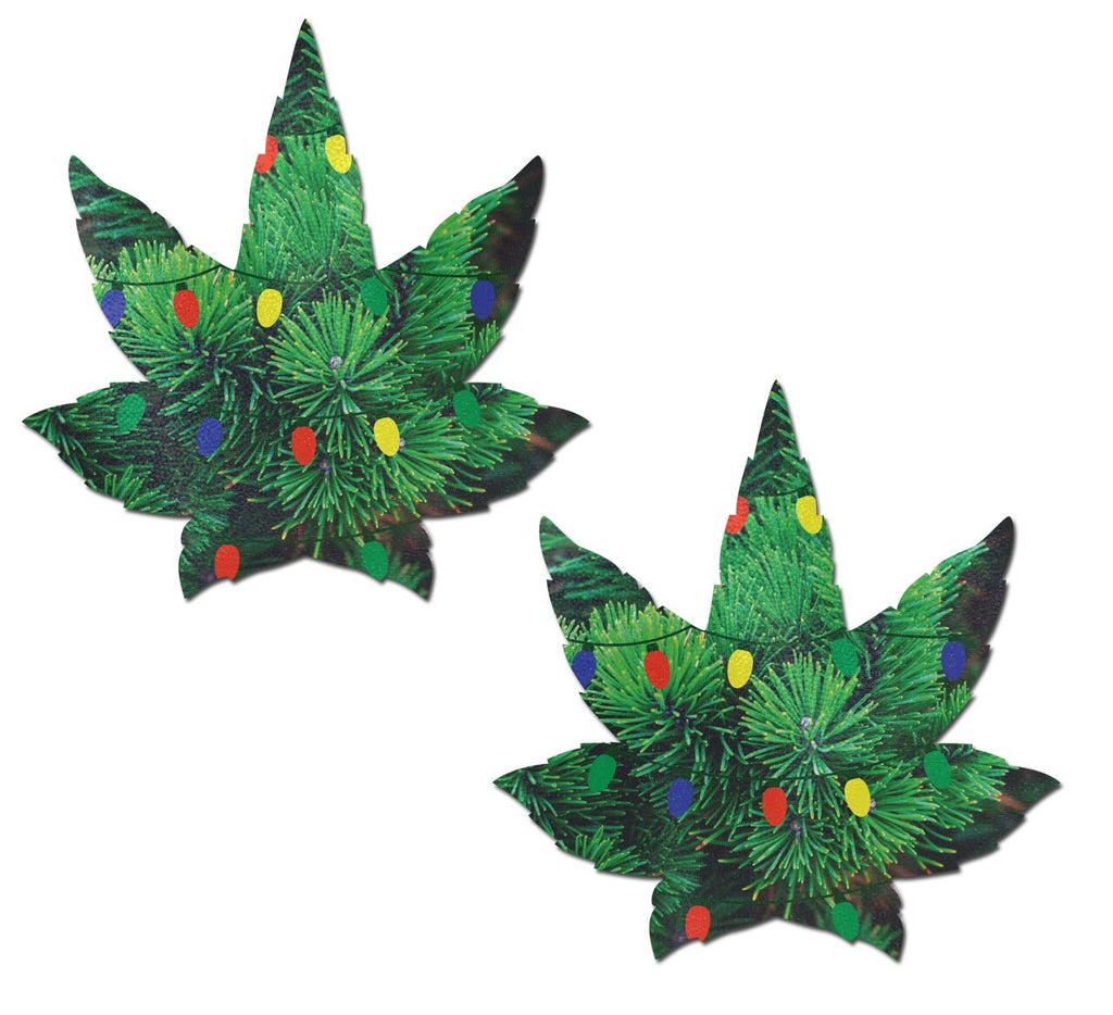 Pine Tree with Holiday Lights Weed Nipple Pasties