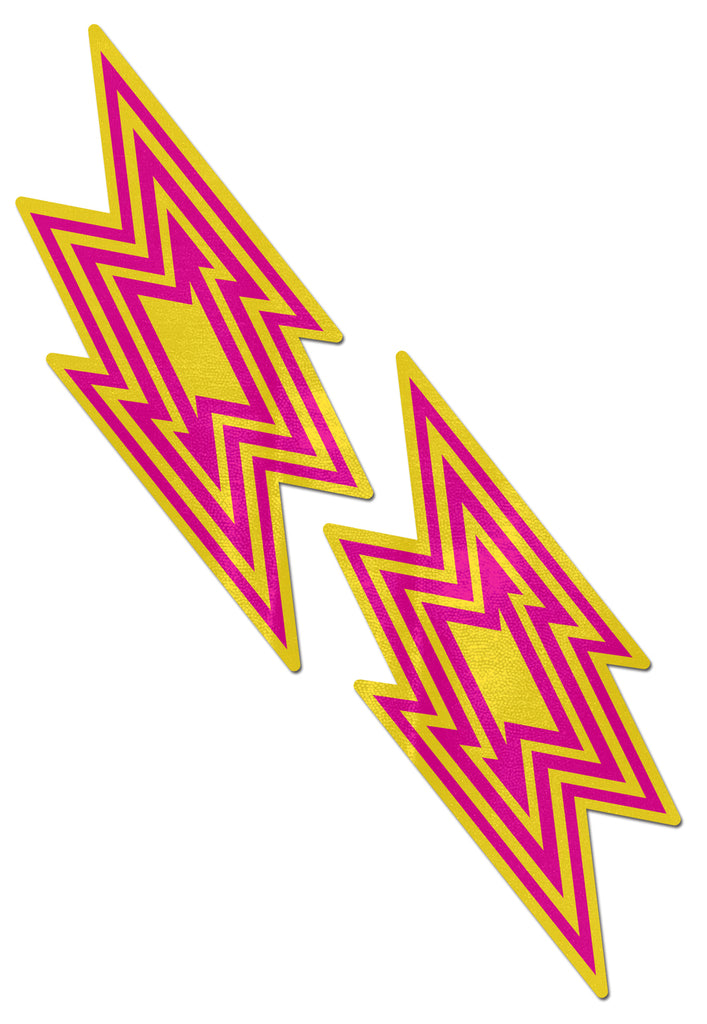 Yellow and Pink Lightning Bolt Nipple Covers Stripper Wear