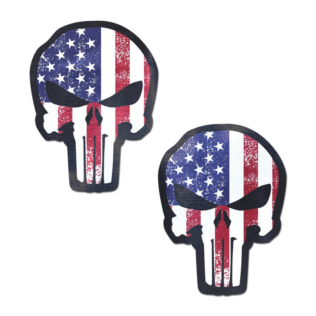 Patriotic Stars & Stripes Punisher Skull Nipple Pasties