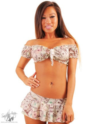 Rufffled Crop Top Money Print