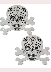 White Glitter Candy Skull&Crossbones Nipple Pastease