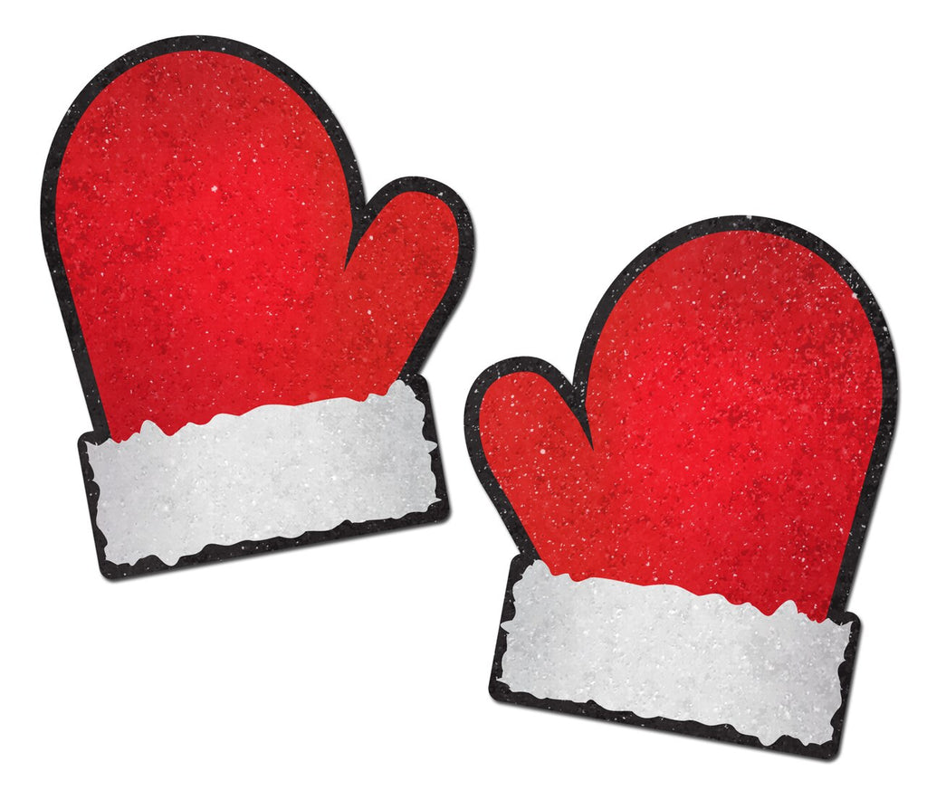 Red and White Santa Mitten Nipple Pasties