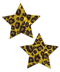 Glittering Gold Cheetah Star Nipple  Covers Stripper Wear
