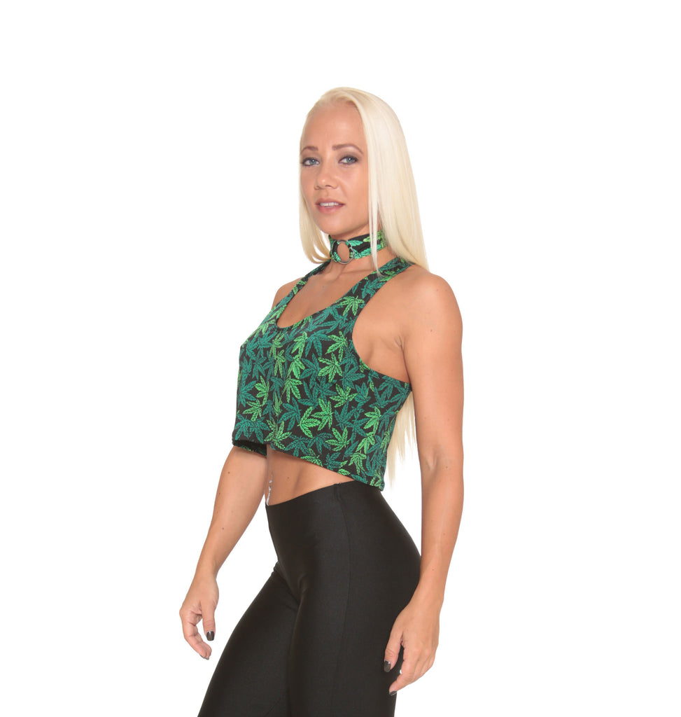 Marijuana Print Crop Top