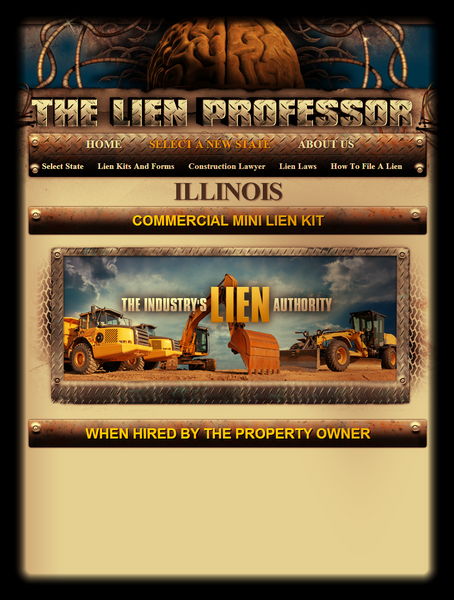 Illinois Commercial Mini Lien Kit - When Hired by the Property Owner