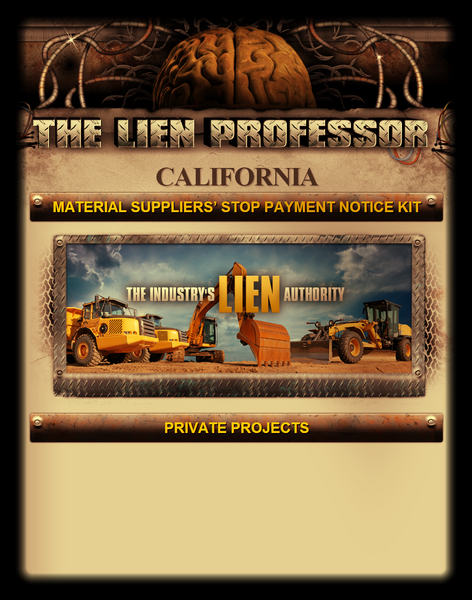 California Material Suppliers' Stop Payment Notice Kit
