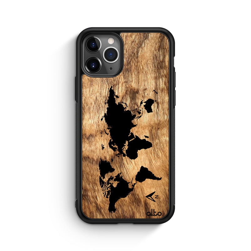 World Map - Olivewood (Apple)