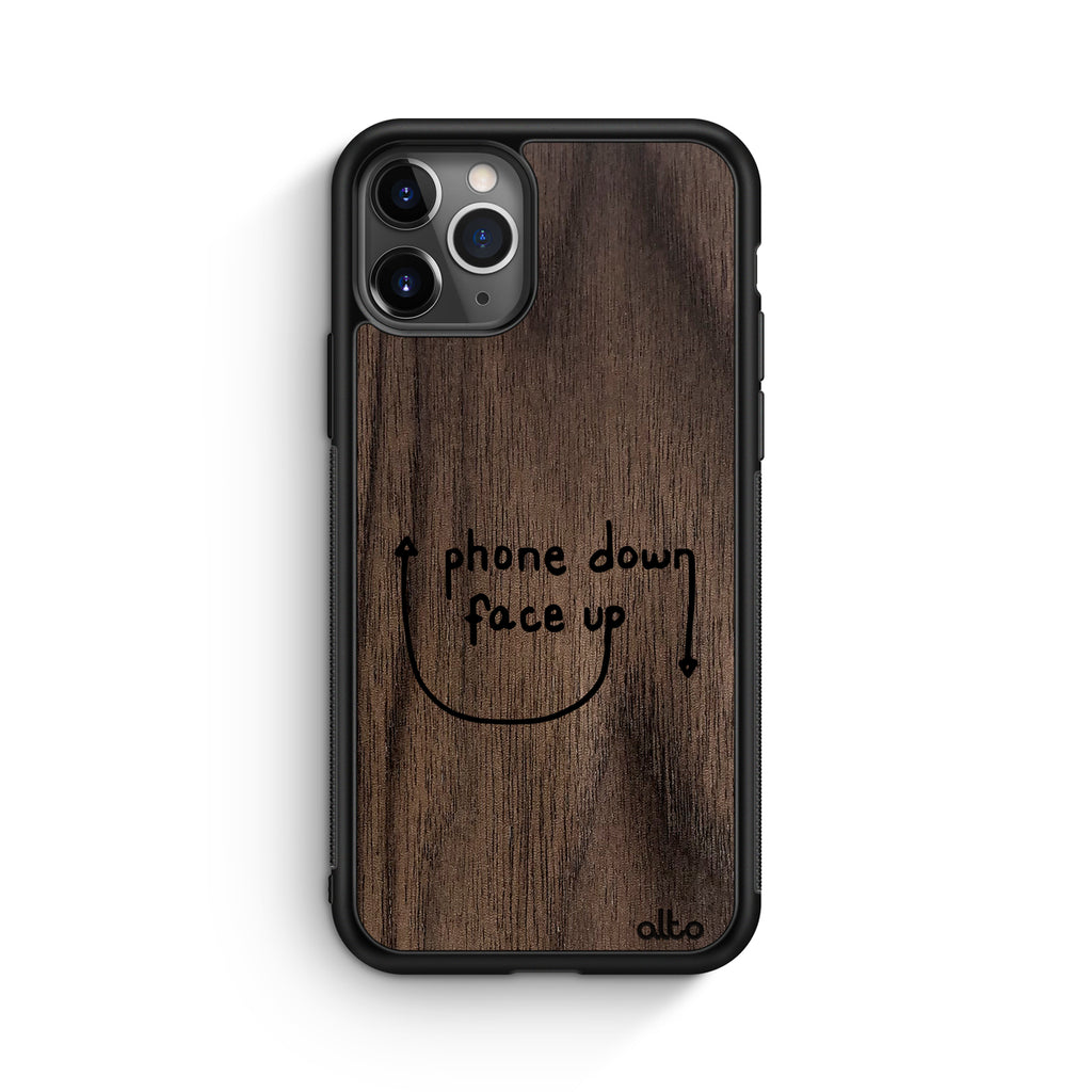 Phone Down Face Up - Walnut (Apple)