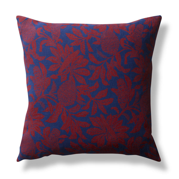 100% Linen Cushion Cover, Banksia - Red, 50x50cm