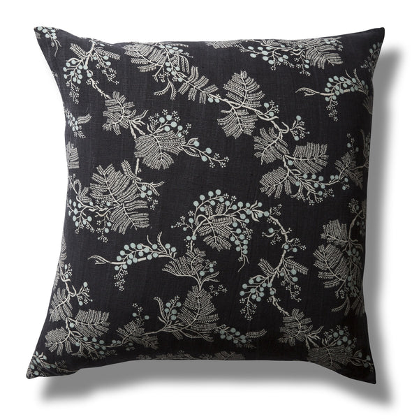 Pure Linen Cushion Cover, Black Wattle, Indigo, 60 x 60cm