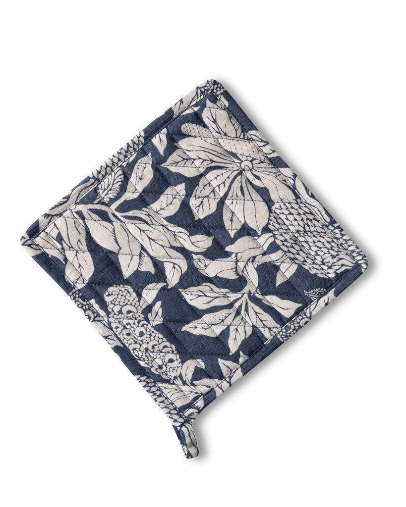 Linen Pot Holder, Banksia Denim Blue