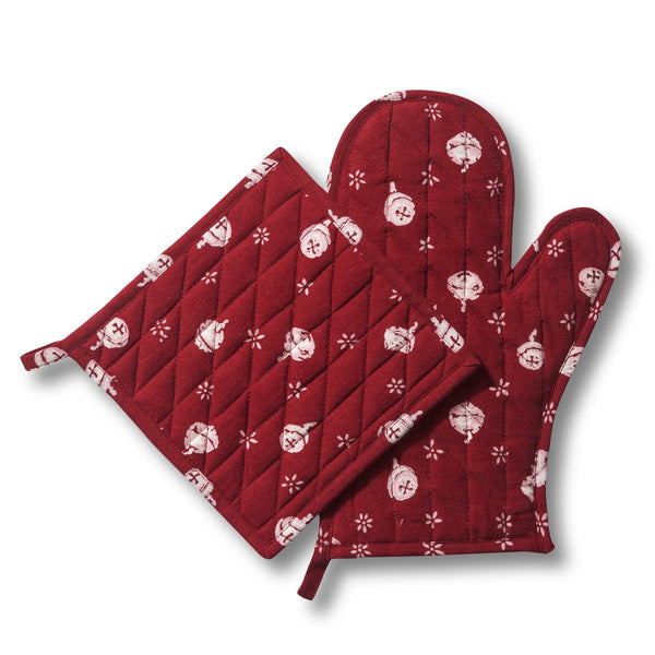 Polka Nut Red Oven Mitt and Pot Holder Set