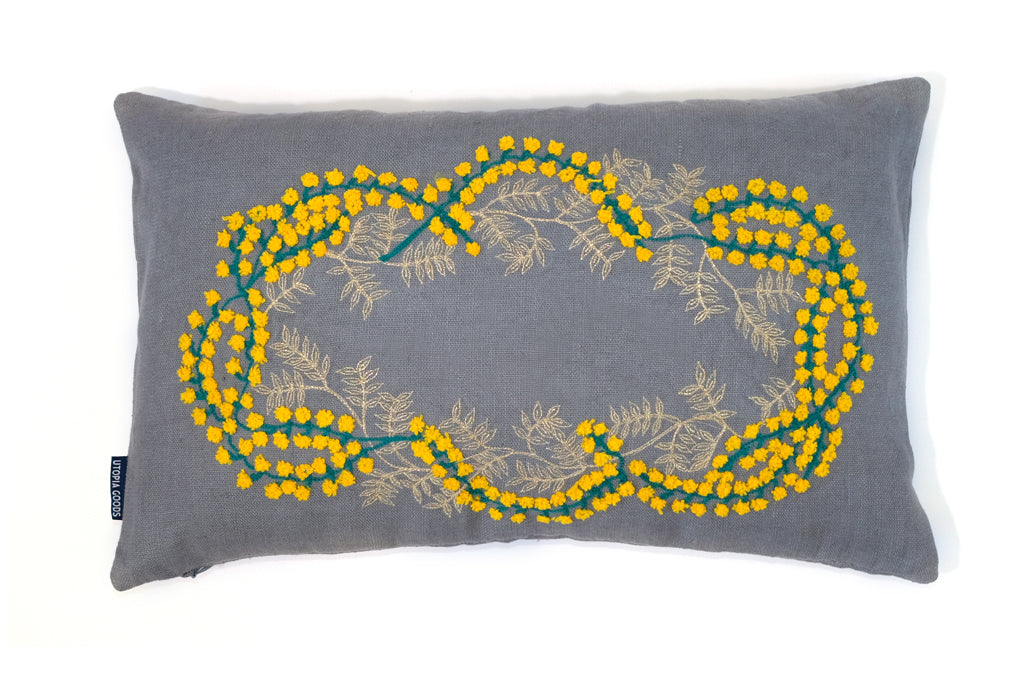 30 x 50 Linen Cushion Cover Embroidery, Wattle Green