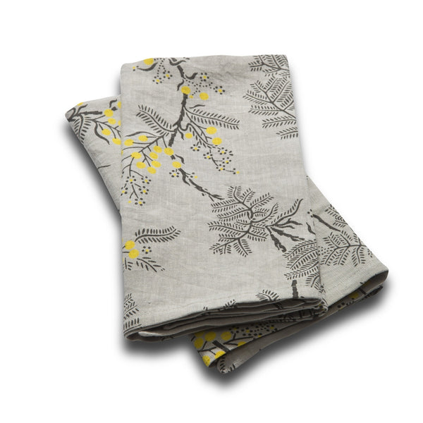 Set of 2 100% Linen Napkins, Black Wattle - Grey