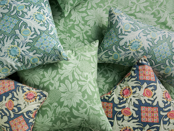 50 x 50 Banksia Green Lightweight Linen/Cotton Cushion Cover