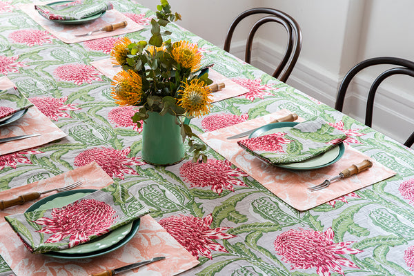 State of Waratah Natural Tablecloth