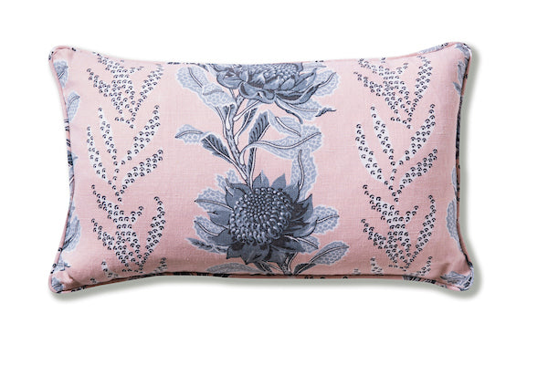 Imperial Waratah Pink Heavyweight Linen Piped 30 x 50 Cushion Cover