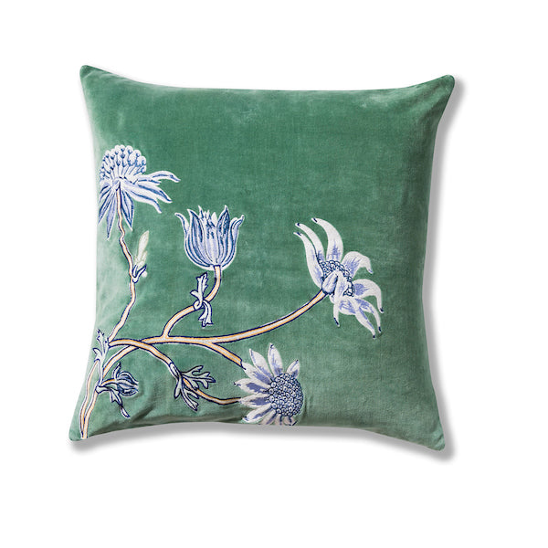 Native Meadow Green Embroidered Velvet 50  x 50 Cushion Cover
