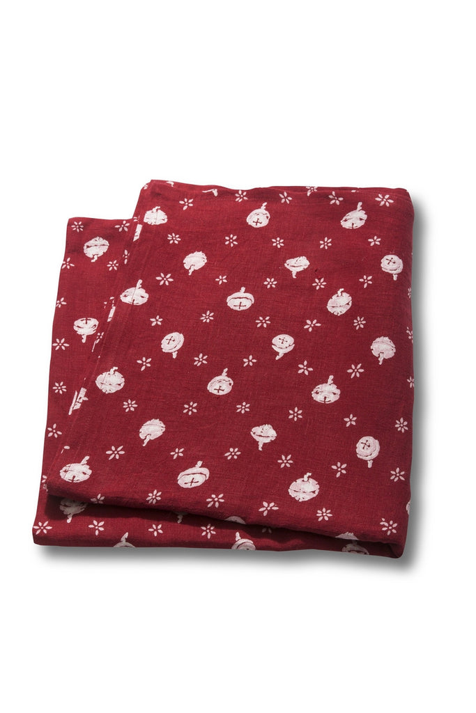 100% Linen Tablecloths, Polka Nut - Red