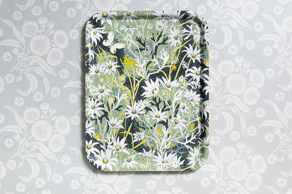 Flannel Flower Rectangle Tray