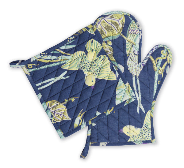 Paradise Ultramarine Oven Mitt and Pot Holder Set