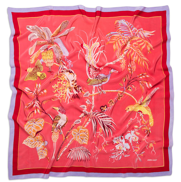 Paradise Rio Pink Pure Silk De Chine Scarf