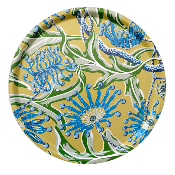 Firewheel Yellow Round Tray