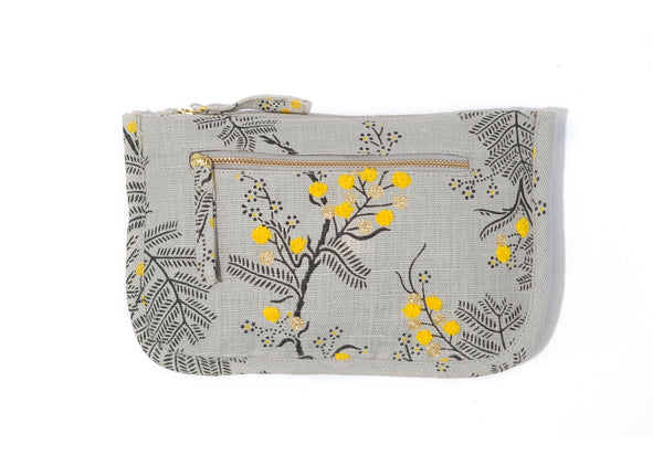 Black Wattle Grey Pure Linen Zip Pouch