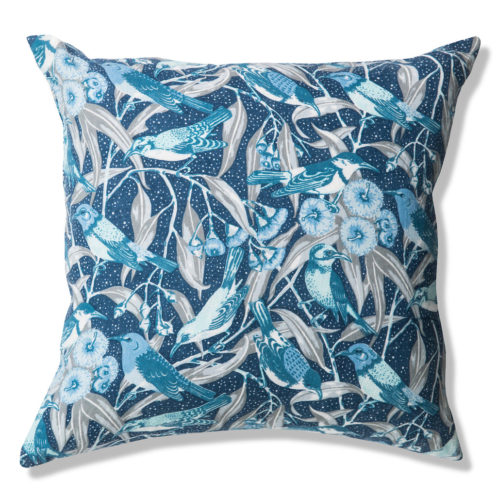 Flowering Gum Blue Pure Linen Cushion Cover 60x60