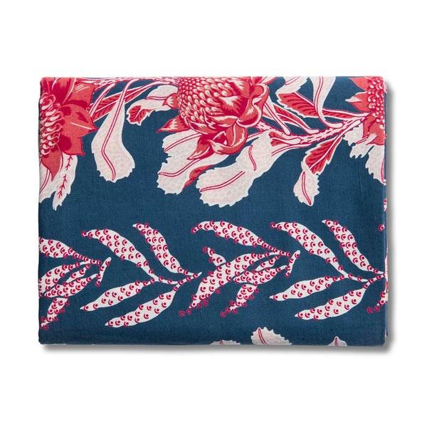 Imperial Waratah Indigo Table Runner