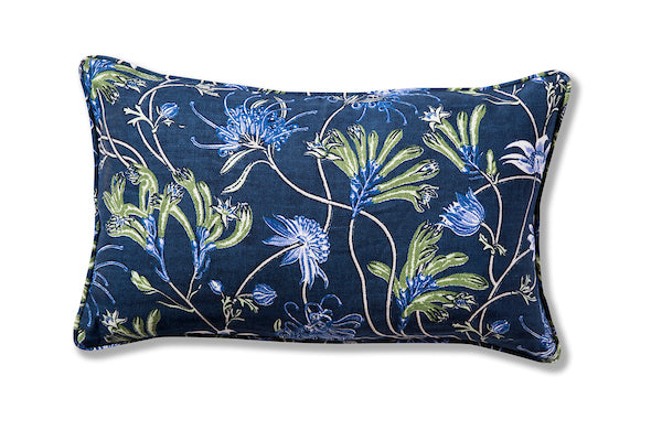 Native Meadow Blue Heavyweight Linen Piped 30 x 50 Cushion Cover