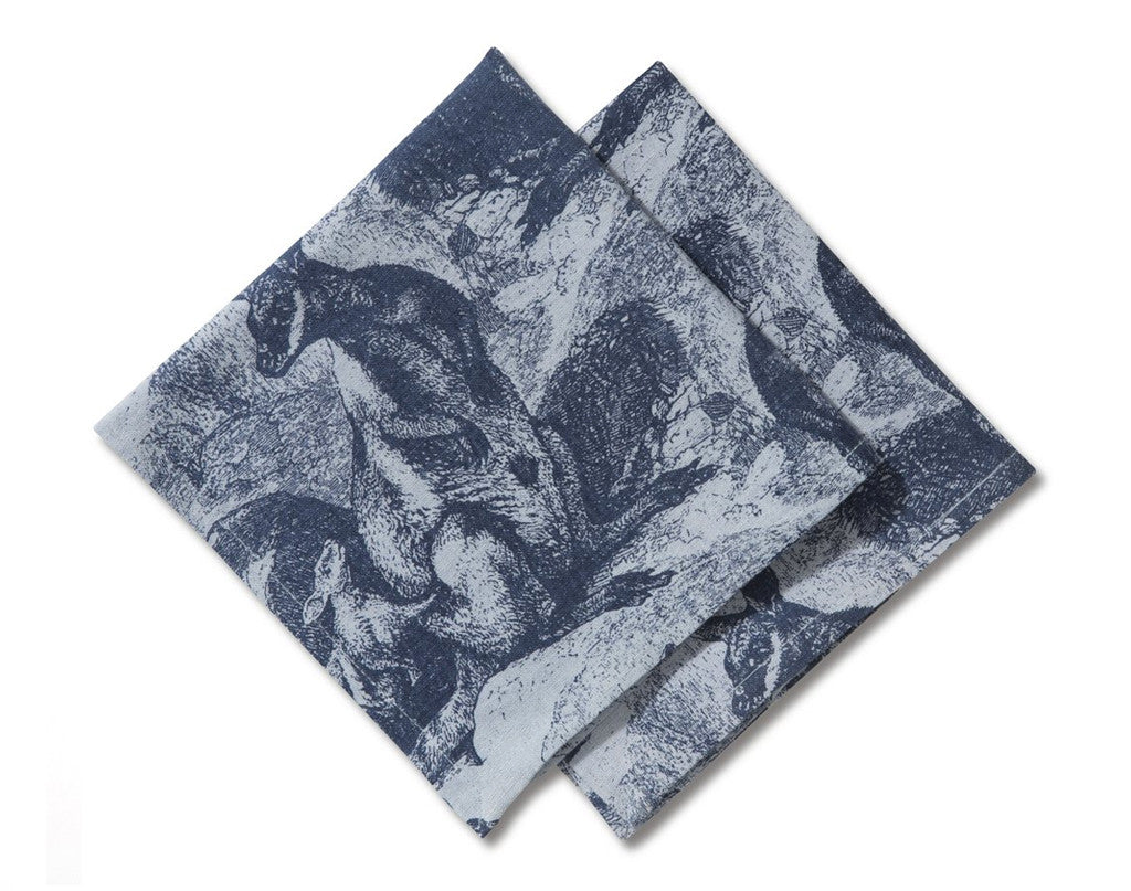 Linen/Cotton Napkin Set of 2, Rock Wallaby - Indigo