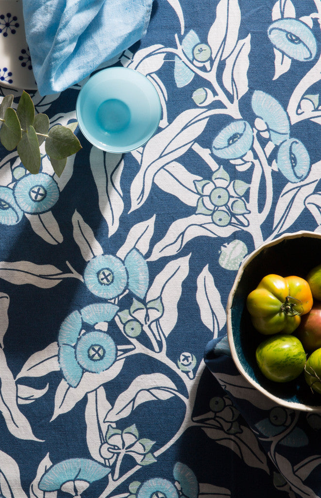 Mallee Gum Indigo Lightweight Linen/Cotton Tablecloth