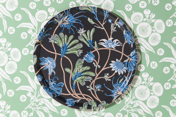 Native Meadow Charcoal Round Tray 38cm