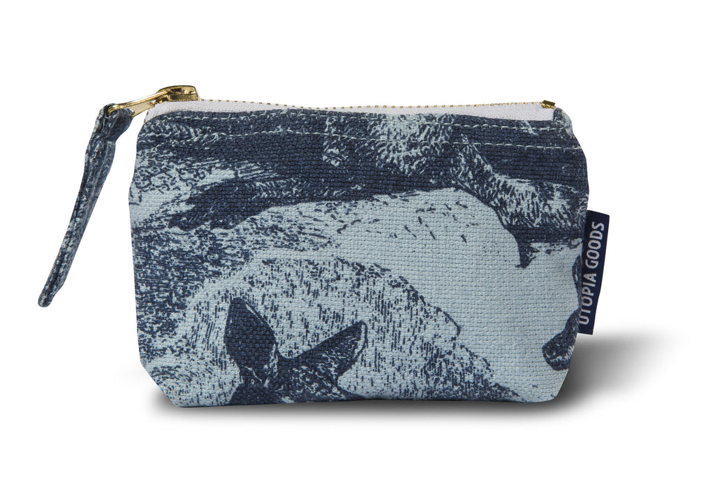 Linen/Cotton Coin and Card Pouch, Wallaby - Indigo