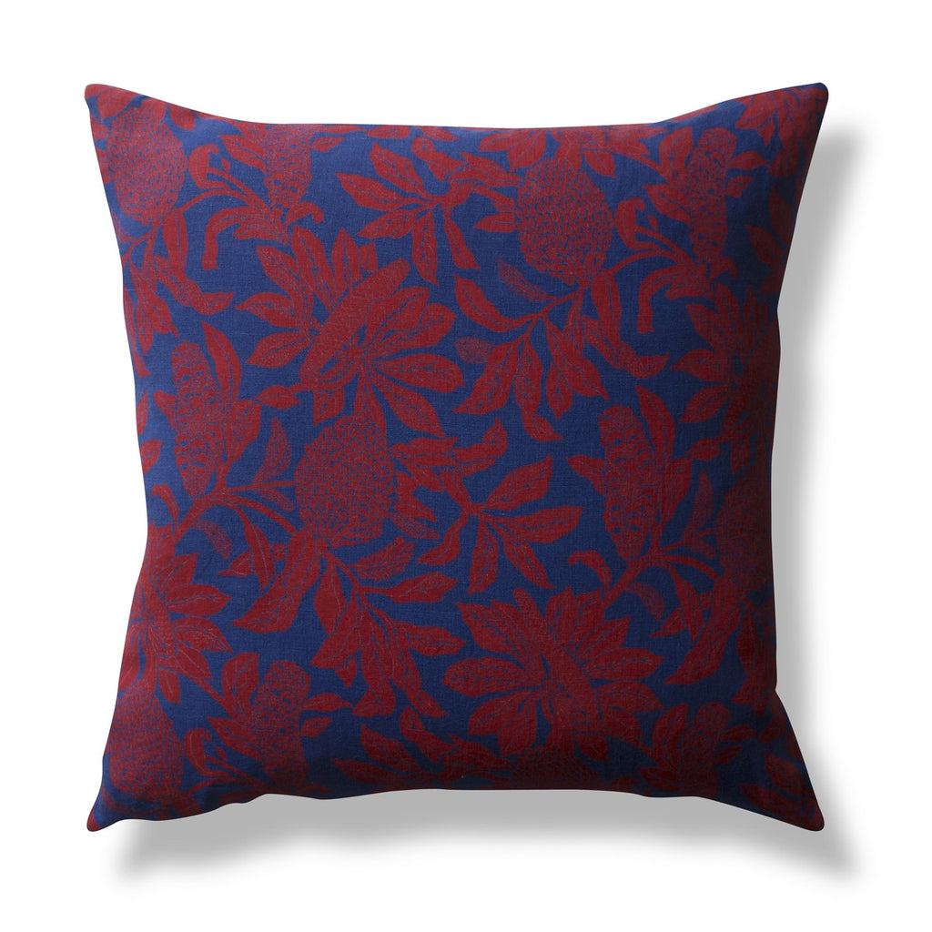 Heavy Linen Cushion Cover, Banksia Red, 60 x 60cm