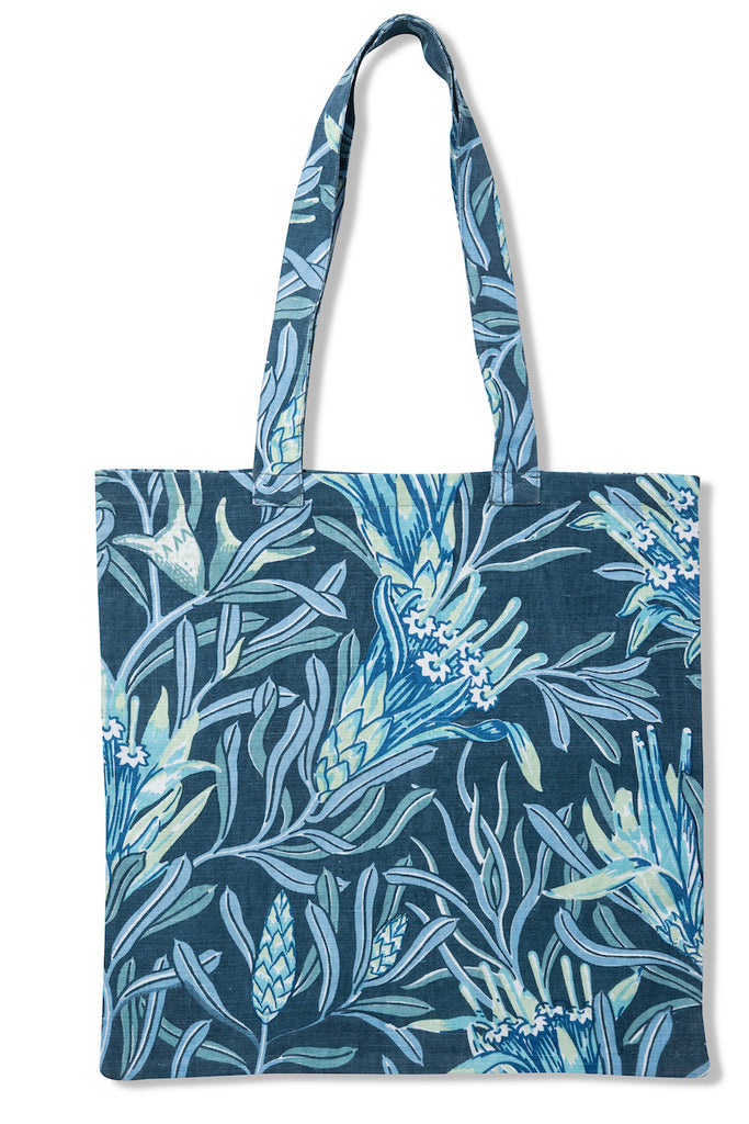 Mountain Devil Teal Pure Linen Tote Bag