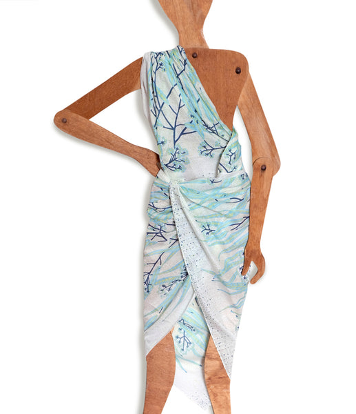 Eucalypt Minty Reef Pure Organic Cotton Sarong